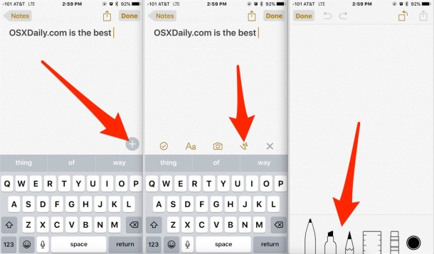 Accessing the drawing tools in Notes app for iOS