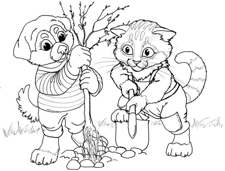 Котики и собачки раскраски распечатать: Раскраски Кошка и ...
