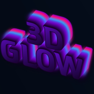 3D label designer with luminous gradient effect