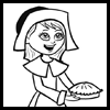 Learn how to draw a pilgrim girl for Thanksgiving