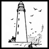 How to draw easy lighthouses with step by step tutorial