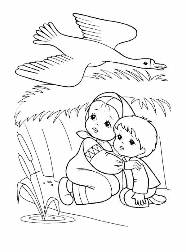 гуси лебеди сказка раскраска раскраска гуси лебеди Twin
