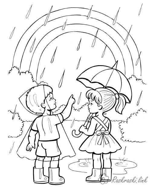 Радуга картинка раскраска – Раскраска радуга для детей ...